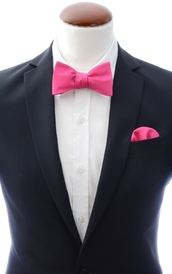 Cerise pink self-tie bow tie and handkerchief silk