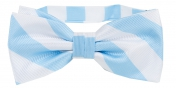 Striped Bow Tie Light Blue | White
