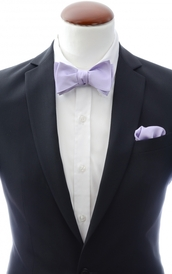 Light purple self-tie bow tie and handkerchief silk